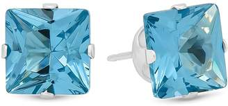 Factory The Bling 925 Sterling Silver Italian Crafted Square Cut 7mm CZ Stud Earrings + Bonus Polishing Cloth