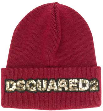 DSQUARED2 sequin logo beanie hat