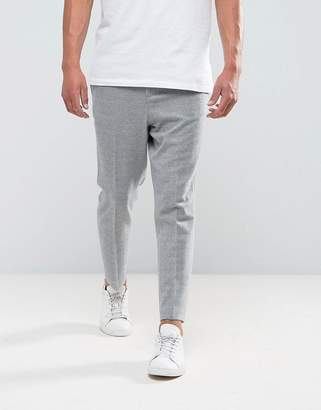 Asos Design Tapered Smart Pant In Light Grey Texture With Elasticated Back