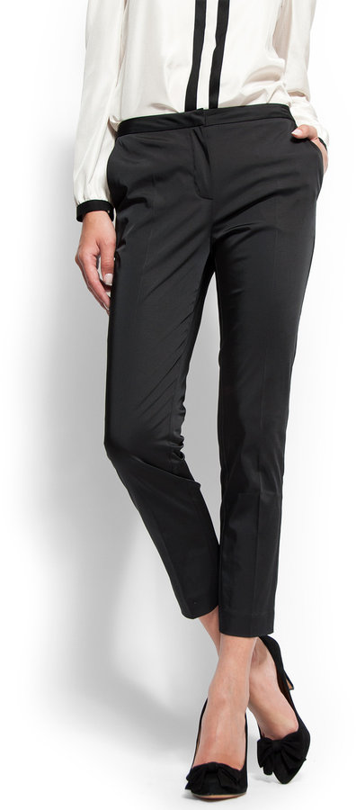 Slim-fit high-waist cropped trousers
