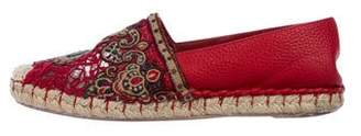 Valentino Embroidered Leather Espadrilles