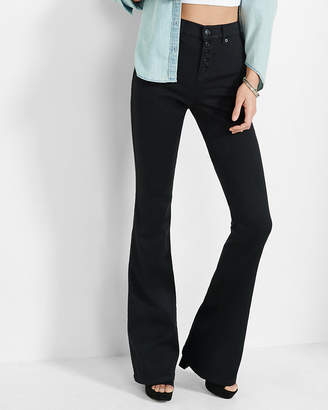 Express Black High Waisted Button Fly Stretch+ Slim Flare Jeans