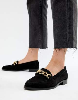 Asos DESIGN Mighty suede chain loafers