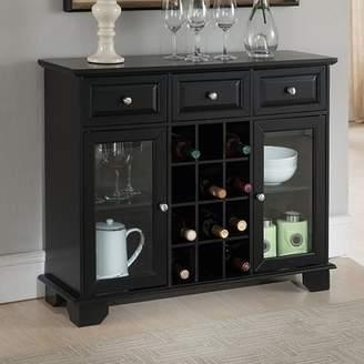 Three Posts Ross Wood Server with 12 Bottle Floor Wine Cabinet