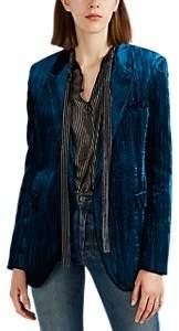 Saint Laurent Women's Textured Velvet Blazer - Blue