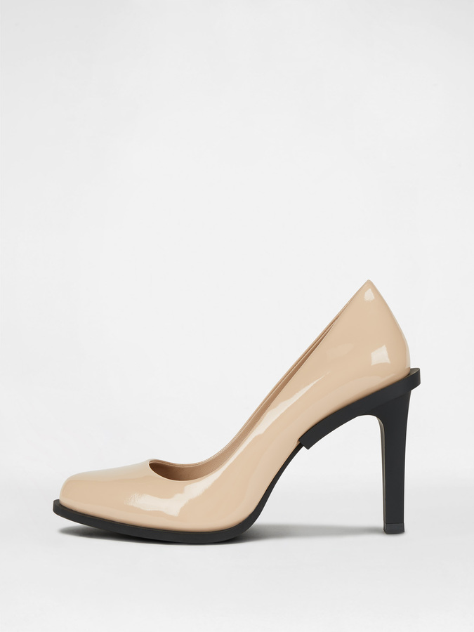 DKNY Prim Patent Pump With Rubber Heel