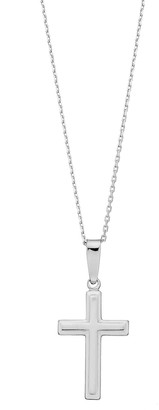Sterling Silver Square Cross Pendant Necklace