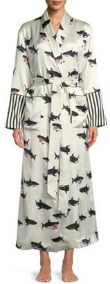 Olivia Von Halle Capability Calvin Shark-Print Long Silk Robe