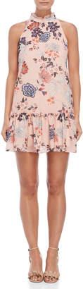 Vince Camuto Petite Floral Ruffle Trim Dress