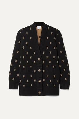 Burberry Intarsia-knit Cardigan - Black