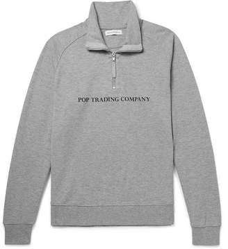 Pop Trading Company Printed Mélange Cotton-Jersey Half-Zip Sweatshirt