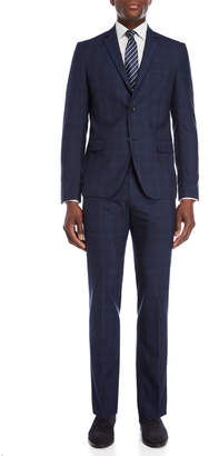 American Designer Navy Windowpane Wool Suit