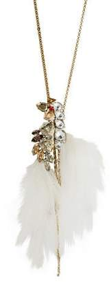 Lanvin Crystal & Feather Pendant Necklace