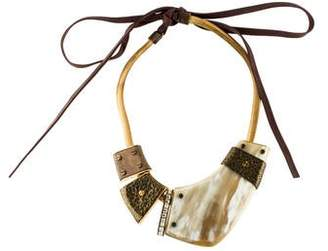 Lanvin Horn & Crystal Collar Necklace