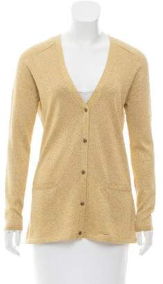 Tibi Metallic V-Neck Cardigan