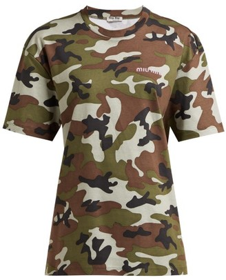 Miu Miu Logo Embroidered Camouflage Print Cotton T Shirt - Womens - Green Multi