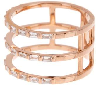 Ef Collection 14K Rose Gold Triple Baguette Diamond Spiral Ring - Size 7 - 0.33 ctw