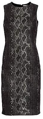 Alice + Olivia Women's Larita Snakeskin Embossed Leather Sheath Dress