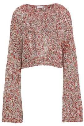 Brunello Cucinelli Cropped Metallic Open-knit Sweater