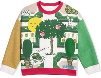 Burberry TEEN Hedge Maze Print Cotton Sweatshirt