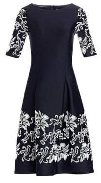 Teri Jon by Rickie Freeman by Rickie Freeman Women's Lace Appliqué Short-Sleeve Dress - Navy - Size 2