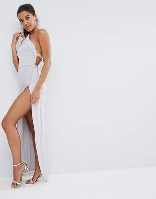 Asos DESIGN One Shoulder Maxi Dress with Exposed Zip