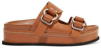 3.1 Phillip Lim Freida Leather Platform Slides - Light brown