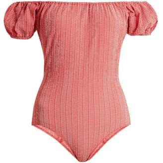 Lisa Marie Fernandez Leandra Gingham Seersucker Swimsuit - Womens - Red White