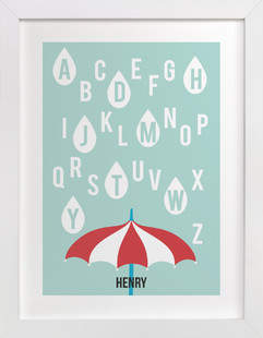 Alphabet Showers Nursery Custom Art Print