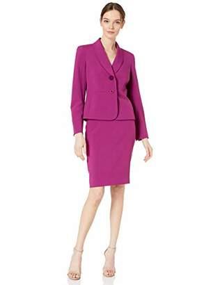 Le Suit Women's 2 Button Shawl Collar Crepe Skirt Suit