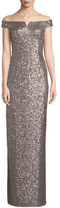 Aidan Mattox Off-the-Shoulder Two-Tone Sequin Gown