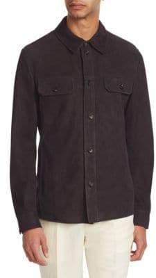 Ermenegildo Zegna Men's Extra Lightweight Perforated Suede Jacket - Navy Sld - Size 50 (40) R