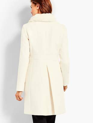 Talbots Ivory Gramercy Faux Fur-Collar Wool Coat