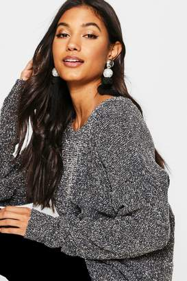 boohoo Chenille Loose Fit Tinsel Yarn Sweater