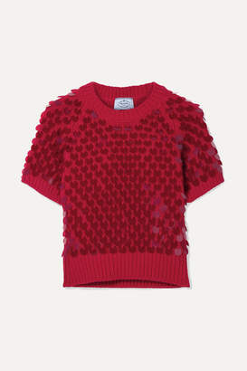 Prada Cropped Paillette-embellished Wool And Cashmere-blend Sweater - Red