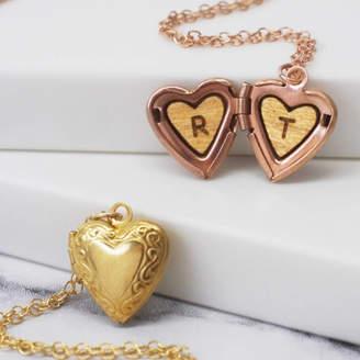 602e316b8da339 Maria Allen Boutique Personalised Initials Mini Heart Locket Necklace