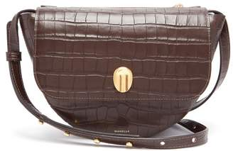 Wandler Billy Crocodile Effect Leather Shoulder Bag - Womens - Dark Brown
