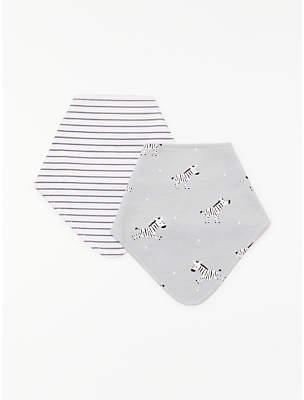 John Lewis & Partners Baby Zebra Dribble Bib, Pack of 2, Grey
