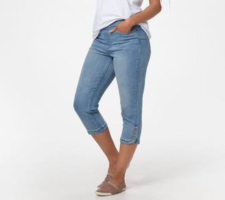 Denim & Co. Pull-On Capri Jeans with Snap Tulip Hem