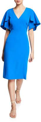 Milly Veronica Flutter-Sleeve V-Neck Sheath Dress