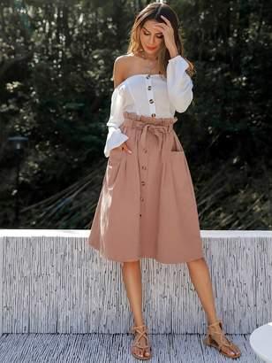 Shein Double Pocket Button Paper Bag Waist Skirt