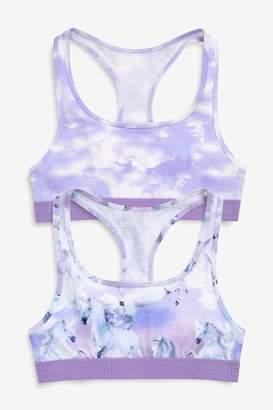 Next Girls Purple Galaxy Crop Tops Two Pack (Older) - Purple