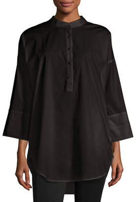 Go Silk 3/4-Sleeve Half-Button Oversized Stretch-Cotton Shirt, Petite