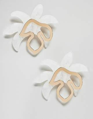 Asos Design DESIGN earrings in abstract floral metal and resin shape design