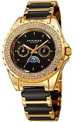 Akribos XXIV Women's Quartz Stainless Steel and Ceramic Casual Watch