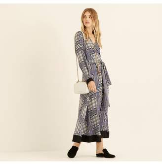 Amanda Wakeley Lattice Check Printed Crepe De Chine Wrap Dress