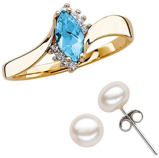 Generic Genuine Marquise Blue Topaz and CZ Ring with Fresh Water Pearl Earrings
