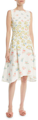 Peter Pilotto Sleeveless Fig-Tree Print Fit-and-Flare Dress