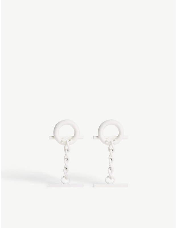 Hoop and chain short stud earrings