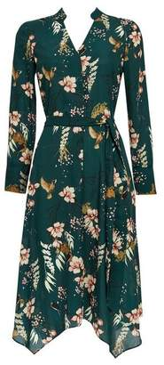 Wallis Petite Green Floral Fit and Flare Dress